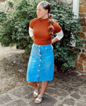 Marlee Light Wash Button Denim Skirt