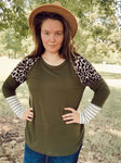 Simple Life Animal Print Waffle Knit Top *Olive*