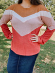 Falling For You Color Block Waffle Knit Top Final Sale