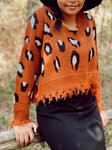 Animal Print Distressed Sweater