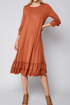 Reflective Moments Ruffle Swing Dress *Rust* PRE ORDER 9/30