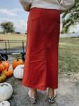Colored Denim Maxi Length Skirt *Terracotta*