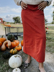 Colored Denim Maxi Length Skirt *Terracotta*