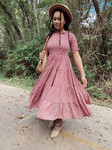Eliza Floral Smocked Twirl Dress *Burgundy*