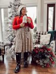 Cheetah Print Christmas Dress *Final Sale*