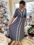Cassidy Embroidered Dress *Smokey Grey*
