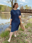 Modest Dolman Style Swim Dress Navy Star