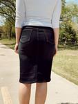 Ella Button Denim Skirt *Black*