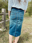 Avery Elastic Waist Denim Skirt  *Vintage*