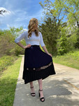 Aurora Pleated Lace Twirl Skirt *Navy/Black*