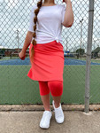 Modest Athletic Skirt With Leggings *Coral*