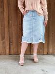 Kristen Distressed Denim Skirt *Light Wash*