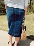 Maddison Elastic Waist Denim Skirt  *Dark Wash*