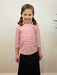 Girl's Modest Swim Top Red Stripe (Final Sale)