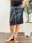 Cecilia Distressed Denim Skirt *Dark Blue Wash*