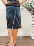 Cecilia Distressed Denim Skirt *Dark Blue Wash*