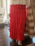 7 Layer Ruffle Maxi Skirt Red