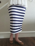 Klassy Girl Original Pencil Skirt Wide Navy  Stripe