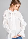 Elegant Ruffled Tie Blouse in White