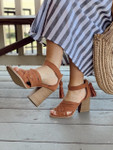 Tasseled Sandals in Hazel * Out of Box Final Sale*