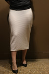 Klassy Girl Longer Length Pencil Skirt White (Ribbed Knit)