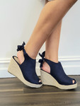 Tie Back Wedges in Navy *Out of Box Final Sale*