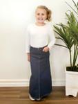 Cami *Girls* Long Modest Denim Skirt Dark Wash