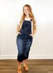 Lena Overall Jumper Dress Dark Wash
