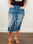 Cecilia Distressed Denim Skirt Light Wash