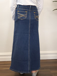 Maggie Girls Long Modest Denim Skirt Indigo Wash
