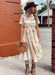 My Little Vintage Stripe Dress in Yellow