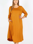 Cyber Deals T Shirt Swing Dress Desert Mustard