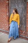 It's Magic Ruffle Flutter Skirt in Chambray