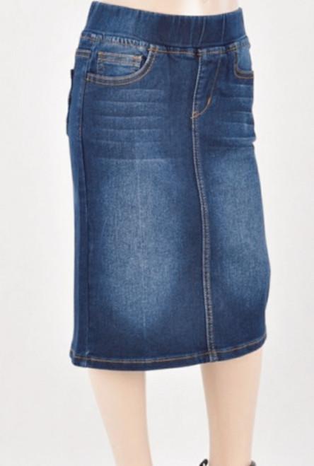 Avery *Kids* Modest Denim Skirt *Dark Wash*