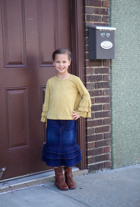Girls Triple Layer Ruffle Denim Skirt