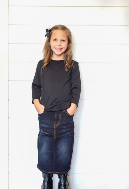 Girls Bridget Denim Skirt Dark Wash