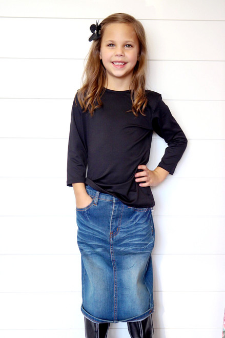 Girls Bridget Denim Skirt Med Wash