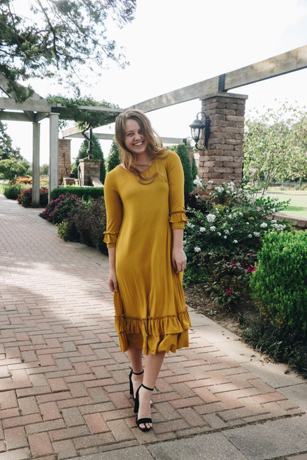 Reflective Moments Ruffle Swing Dress Mustard