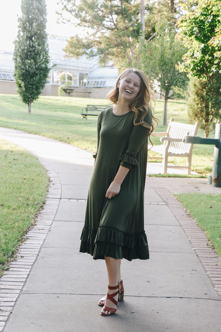Reflective Moments Ruffle Swing Dress Olive