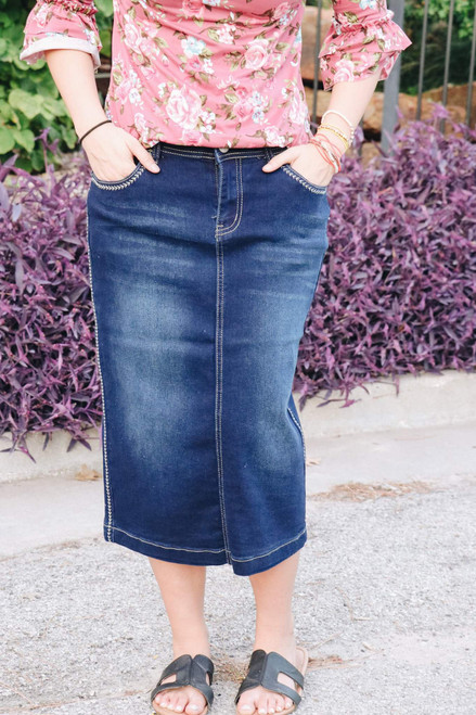 Sadie Denim Skirt Dark Wash