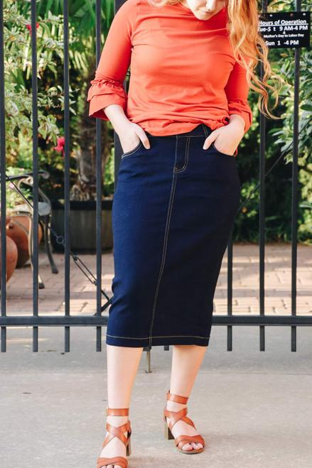 Mackenzie Denim Skirt Dark Wash