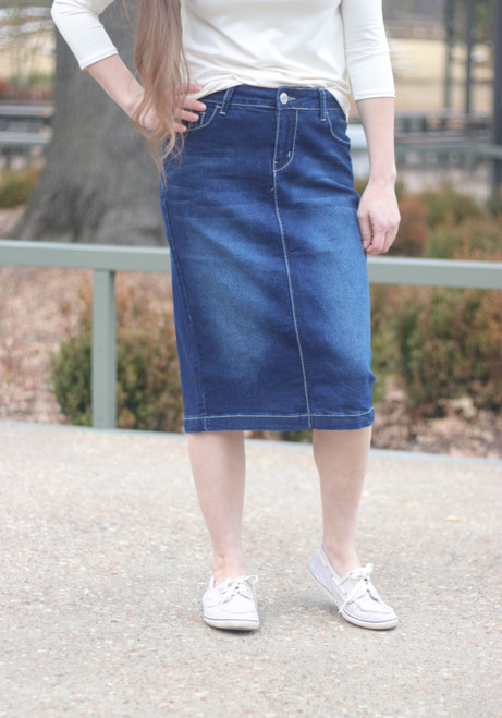 Taylor Embelished Pocket Denim Skirt