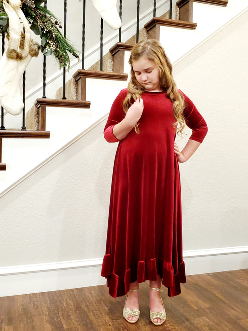 Willow Swing Dress Burgundy Velvet *Girls*