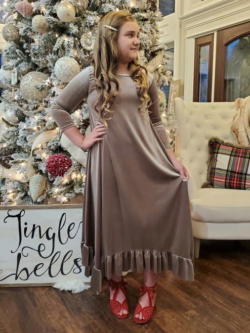 Willow Swing Dress Taupe Velvet *Girls*