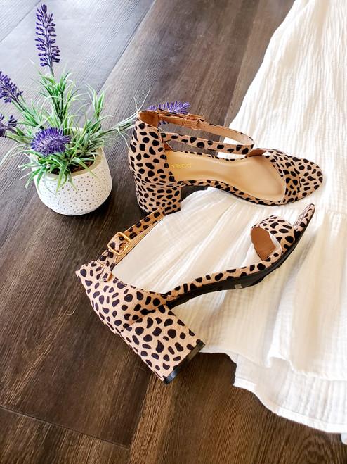 Leopard Print Block Heel Shoes Sandals