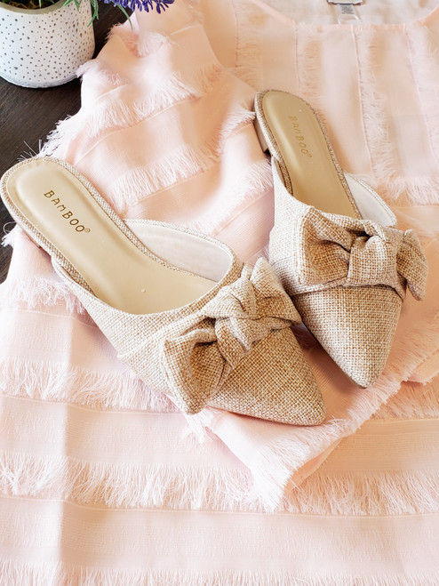 Perfect Bow Tweed Mules Shoes Slides