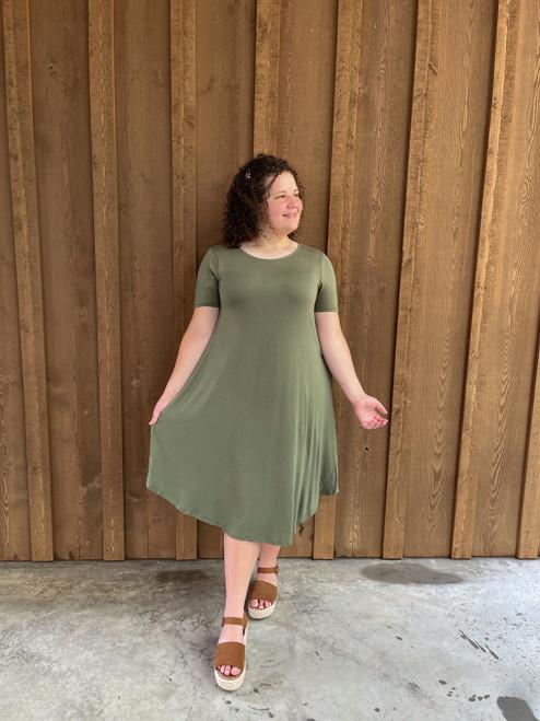Tee Shirt Swing Dress *Olive*