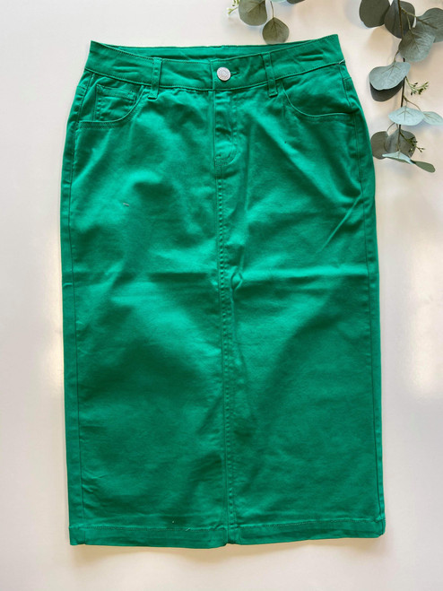 Colored Denim Skirt Spring Green *Womens*