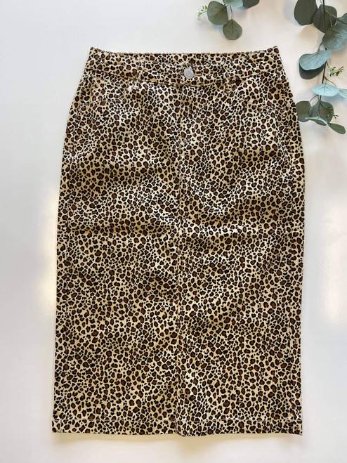 Colored Denim Skirt Leopard  *Womens*