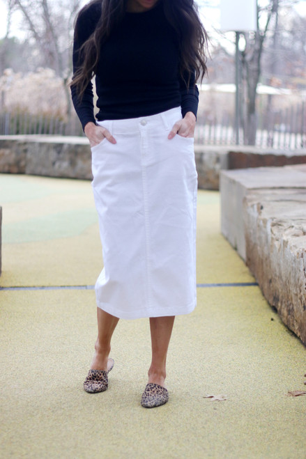 Colored Denim Skirt White *Womens*